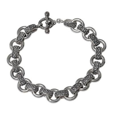Men's sterling silver link bracelet, 'Dragon Legacy' - Men's Silver Textured Link Bracelet from Indonesia