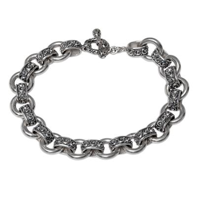 Sterling silver link bracelet, 'Spiral Bonds' - Sterling Silver Spiral Link Bracelet from Indonesia