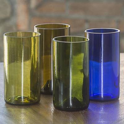 Recycled glass tumblers, 'Refreshing Rainbow' (set of 4) - Four 15-Oz Tumblers Crafted in Bali from Recycled Bottles