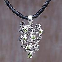 Peridot pendant necklace, 'Tropical Fern' - Sterling Silver Pendant Necklace with Peridots