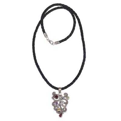 Multi-gemstone pendant necklace, 'Tropical Fern' - Multi Gemstone and Sterling Silver Pendant Necklace