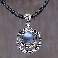 Cultured mabe pearl pendant necklace, 'Crescent Gleam in Blue' - Dyed Blue Cultured Pearl Pendant Necklace from Indonesia
