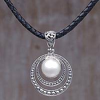 Cultured mabe pearl pendant necklace, 'Crescent Gleam in White' - Cultured Mabe Pearl and Sterling Silver Pendant Necklace