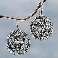 Peridot dangle earrings, 'Circles of Majesty' - Sterling Silver and Peridot Bali Style Dangle Earrings