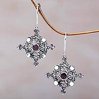 Garnet dangle earrings, 'Burning Red Stars' - Sterling Silver and Garnet Dangle Earrings from Indonesia