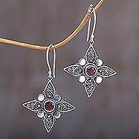 Garnet dangle earrings, 'Four-Pointed Stars' - Sterling Silver Garnet Dangle Earrings from Indonesia