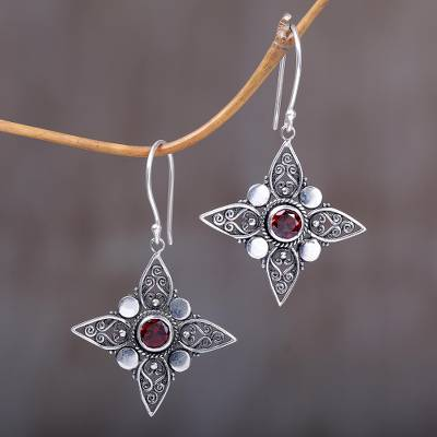 Garnet dangle earrings, Four-Pointed Stars