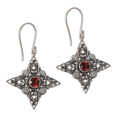 Sterling Silver Garnet Dangle Earrings from Indonesia