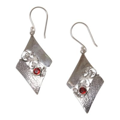 Sterling Silver and Garnet Rhombus Dangle Earrings Indonesia