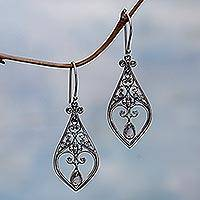 Rainbow moonstone dangle earrings, 'Weeping Hearts' - Rainbow Moonstone Dangle Earrings from Indonesia