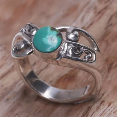 Turquoise single-stone ring, 'Turquoise Mystique' - Natural Turquoise and Sterling Silver Single Stone Ring