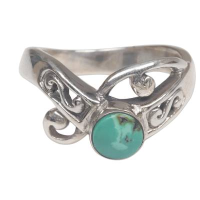 Natural Turquoise and Sterling Silver Single Stone Ring