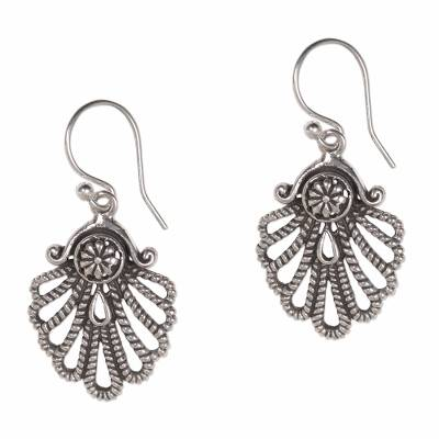 Hand-Crafted Sterling Silver Seashell Dangle Earring