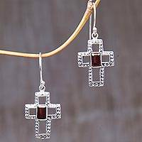 Garnet dangle earrings, 'Faith Everlasting' - Sterling Silver and Garnet Cross Dangle Earrings Indonesia