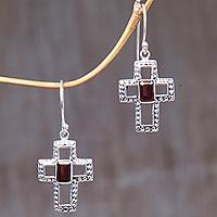 Garnet dangle earrings, 'Faith Everlasting'