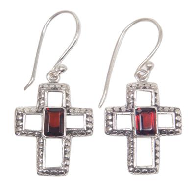Garnet dangle earrings, 'Faith Everlasting' - Sterling Silver and Garnet Cross Dangle Earrings Indonesia