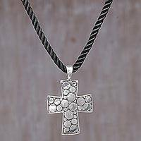 Sterling silver pendant necklace, 'Path of the Cross' - Sterling Silver Cross Pendant Necklace from Indonesia
