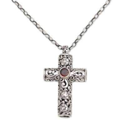 Garnet cross necklace, 'Living Hope' - Garnet and Sterling Silver Cross Necklace on Cable Chain