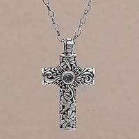 Blue topaz cross necklace, 'Amazing Believer' - Hand-Crafted Sterling Silver and Blue Topaz Cross Necklace
