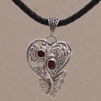 Garnet pendant necklace, 'Butterfly Delight' - Garnet & Sterling Silver Heart Pendant & Leather Necklace
