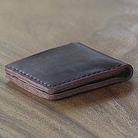 Leather wallet, 'Malioboro Espresso' - Hand Made Brown Leather Wallet from Indonesia
