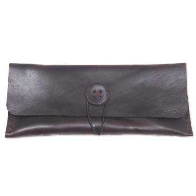 Leather multipurpose pouch, 'Batavia in Dark Brown' - Hand Made Brown Leather Pouch from Indonesia
