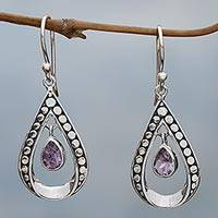 Amethyst dangle earrings, 'Charming Tears in Purple' - Sterling Silver and Amethyst Dangle Earrings from Indonesia