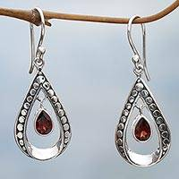 Garnet dangle earrings, 'Charming Tears in Red' - Sterling Silver and Garnet Dangle Earrings from Indonesia