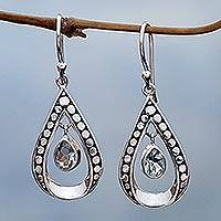 Blue topaz dangle earrings, 'Charming Tears in Blue' - Blue Topaz and Sterling Silver Dangle Earrings Indonesia