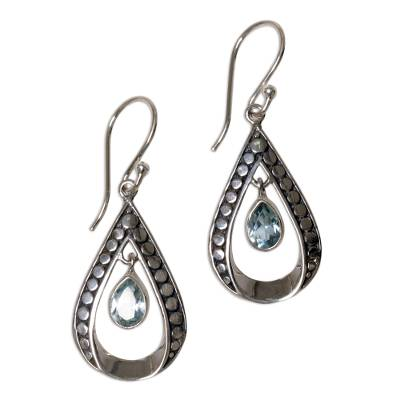 Blue Topaz and Sterling Silver Dangle Earrings Indonesia