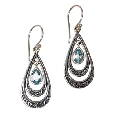 Blue Topaz Teardrop Dangle Earrings from Indonesia