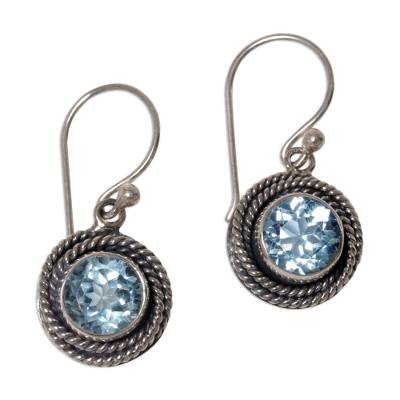 Round Blue Topaz Dangle Earrings from Indonesia