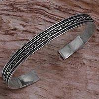 Sterling silver cuff bracelet, 'Mesmerizing Love' - Sterling Silver Cuff Bracelet with Rope Motif from Indonesia