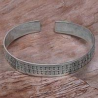 Sterling silver cuff bracelet, 'Subtle Beauty' - Sterling Silver Circle Motif Cuff Bracelet from Indonesia