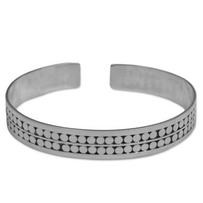 Sterling Silver Circle Motif Cuff Bracelet from Indonesia