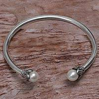 Cultured pearl cuff bracelet, 'Burgeoning Buds' - Indonesian Sterling Silver and Cultured Pearl Cuff Bracelet