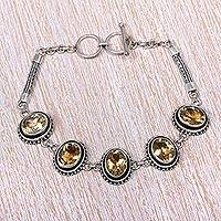 Citrine link bracelet, 'Five Guardians' - Sterling Silver and Citrine Link Bracelet from Indonesia