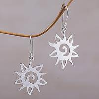 Sterling silver dangle earrings, 'Joyful Suns' - Sterling Silver Sun Shaped Dangle Earrings from Indonesia