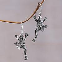 Sterling silver dangle earrings, 'Agile Frogs' - Sterling Silver Frog Shaped Dangle Earrings from Indonesia