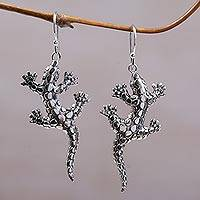 Sterling silver dangle earrings, 'Spotted Lizards' - Sterling Silver Lizard Shaped Dangle Earrings from Indonesia