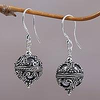 Sterling silver dangle earrings, 'Majestic Bali' - Sterling Silver Ornate Dangle Earrings from Indonesia