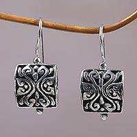 Sterling silver dangle earrings, 'Bali Boxes' - Petite Ornate Balinese Dangle Earrings in Sterling Silver