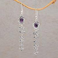 Amethyst dangle earrings, 'Dancing Curves' - Amethyst and Sterling Silver Dangle Earrings from Indonesia