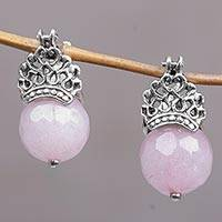 Rose quartz drop earrings, 'Bali Majesty' - Handcrafted Sterling Silver and Rose Quartz Drop Earrings