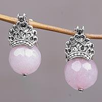 Rose quartz drop earrings, 'Bali Majesty'