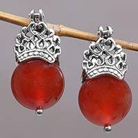 Carnelian drop earrings, 'Bali Majesty' - Sterling Silver and Carnelian Drop Earrings from Bali