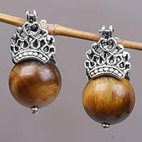Tiger's eye drop earrings, 'Bali Majesty'