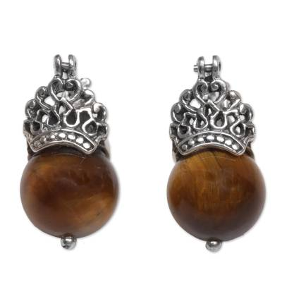 Tiger's eye drop earrings, 'Bali Majesty' - Sterling Silver and Tiger's Eye Earrings Crafted by Hand