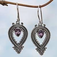 Amethyst dangle earrings, 'Bali Honor in Purple' - Sterling Silver Amethyst Balinese Dangle Earrings Indonesia