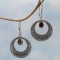 Garnet dangle earrings, 'Red Crescents' - Sterling Silver Garnet Balinese Dangle Earrings Indonesia